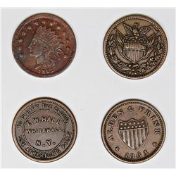 4 DIFFERENT CIVIL WAR TRADE TOKENS 1863