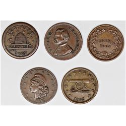 5 PATRIOTIC CIVIL WAR TOKENS