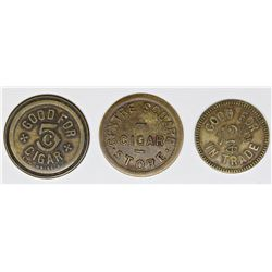 3 SCARCE AND POPULAR CIGAR STORE TOKENS