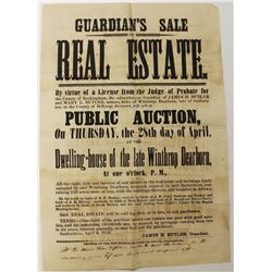 ORIGINAL POSTER 1859 PUBLIC AUCTION NH