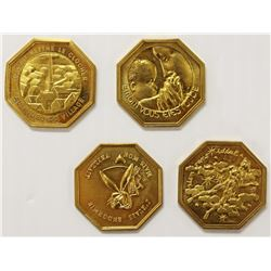 SET OF 4 GILT BRONZE MEDALS