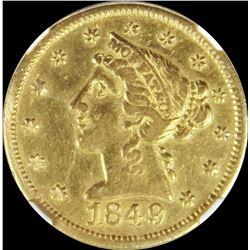 1849 $5 MOFFAT & CO GOLD NGC AU 50