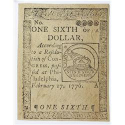 2/17/1776 $1/6 CONTINENTAL CURRENCY