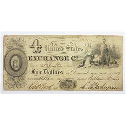 1837 $4  U.S. EXCHANGE COMPANY