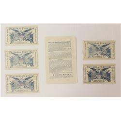 RARE SET OF FIVE 1858 TICKETS