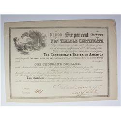 1865 $1000 CONFEDERATE WAR BOND