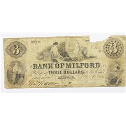 1853 $3 BANK OF MILFORD MASS.