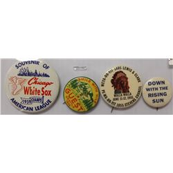 LOT OF 4 PIN BACK BUTTONS CIRCA 1936-55