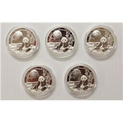 LOT OF 5 2016 CHINA MOON FESTIVAL SILVER 1 OUNCE
