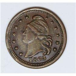 1863 CIVIL WAR TOKEN CONFEDERATE OBVERSE