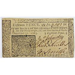 1763 NEW JERSEY EIGHTEEN PENCE
