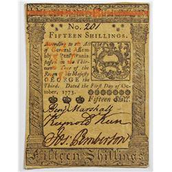 1773 15 SHILLINGS