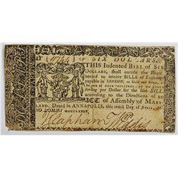 1774 $6 MARYLAND NOTE