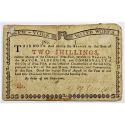 1775 NEW YORK WATER WORKS TWO SHILLING