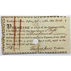 1786 BOSTON TREASURY WARRANT