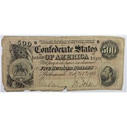 1864 $500 CONFEDERATE BILL
