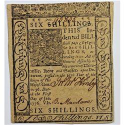 1/1/1776 6 SHILLINGS DELAWARE