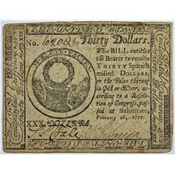 2-26-1777 $30 CONTINENTIAL CURRENCY