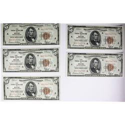 5 CONSECUTIVE $5 NATL. SER. OF 1929 BOSTON