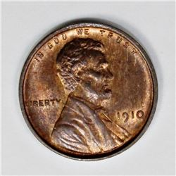 1910 LINCOLN CENT CHBU65 RED BROWN