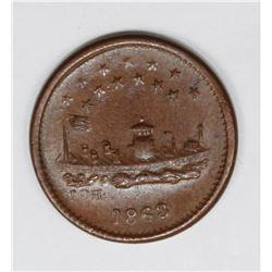 1863 CIVIL WAR PATRIOTIC TOKEN, MONITOR