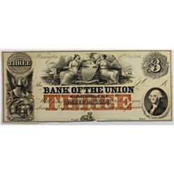 1851 $3 BANK OF THE UNION