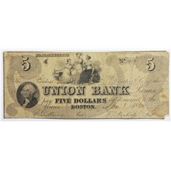 1854 $5 BOSTON UNION BANK