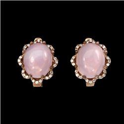 Natural Pink Opal 12x10mm Earrings