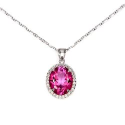 Natural AAA Pink Topaz 12x10 MM  Necklace
