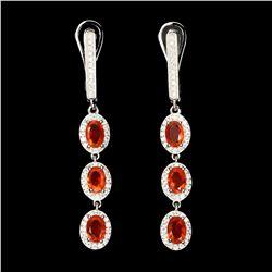Natural Top Rich Orange Fire Opal Earrings