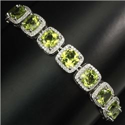 Natural Untreated Cushion Peridot 7mm Bracelet
