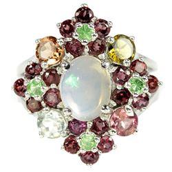 NATURAL OPAL TSAVORITE GARNET & TOURMALINE Ring
