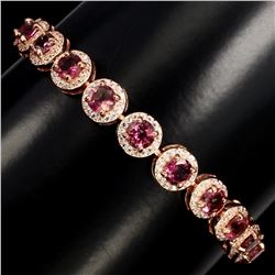 Natural Round Cut 5 mm Top Pink Tourmaline Bracelet