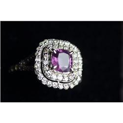 Stunning Kashmir Sapphire Diamond & Gold Ring - GRS