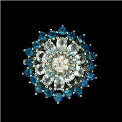 Natural Rare Brazil Blue Apatite & Aquamarine Ring