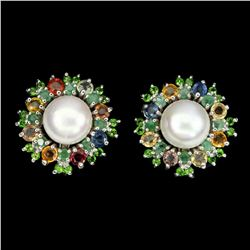 Natural Pearl Chrome Diopside Sapphire Earrings