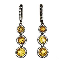 Natural Rich Yellow Citrine Earrings