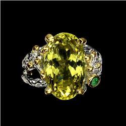 Natural Handmade 17x10mm Lemon Quartz Emerald