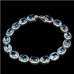 Natural Oval 8x6mm Swiss Blue Topaz Bracelet