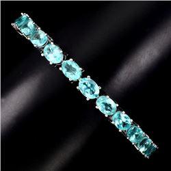Natural  Neon Blue Apatite Bracelet