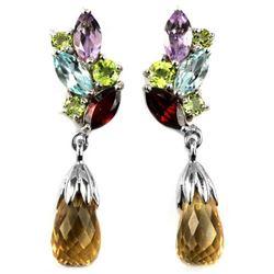 Natural CITRINE TOPAZ GARNET AMETHYST & PERIDOT Earring