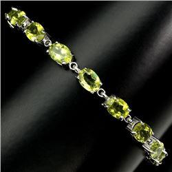 Natural 7x5 MM Rich Green Peridot Bracelet