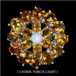 Natural Opal & Yellow Citrine Ring