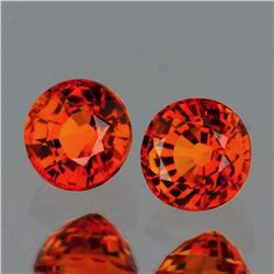 Natural Intense AAA Orange Sapphire  Pair - VVS