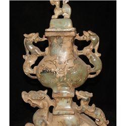 Antique Chinese Jade Carving Dragon Beast PiXiu Pot Jar