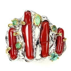 Natural 19x4mm Red Coral &  Emerald Ring