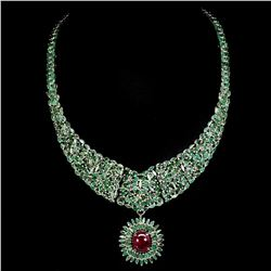 Natural Columbian Emerald & Genuine Ruby 13x11 Necklace