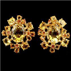 NATURAL 11X9 MM.  ORANGISH YELLOW CITRINE Earrings