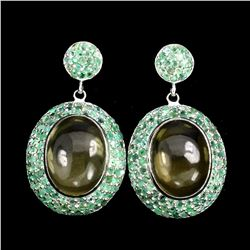 Natural Greenish Yellow Lemon Quartz Emerald Earrings