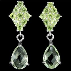 NATURAL GREEN AMETHYST 9X7 MM. PEAR & PERIDOT Earring